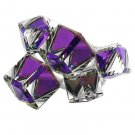 Square candy purple crystal silver ring