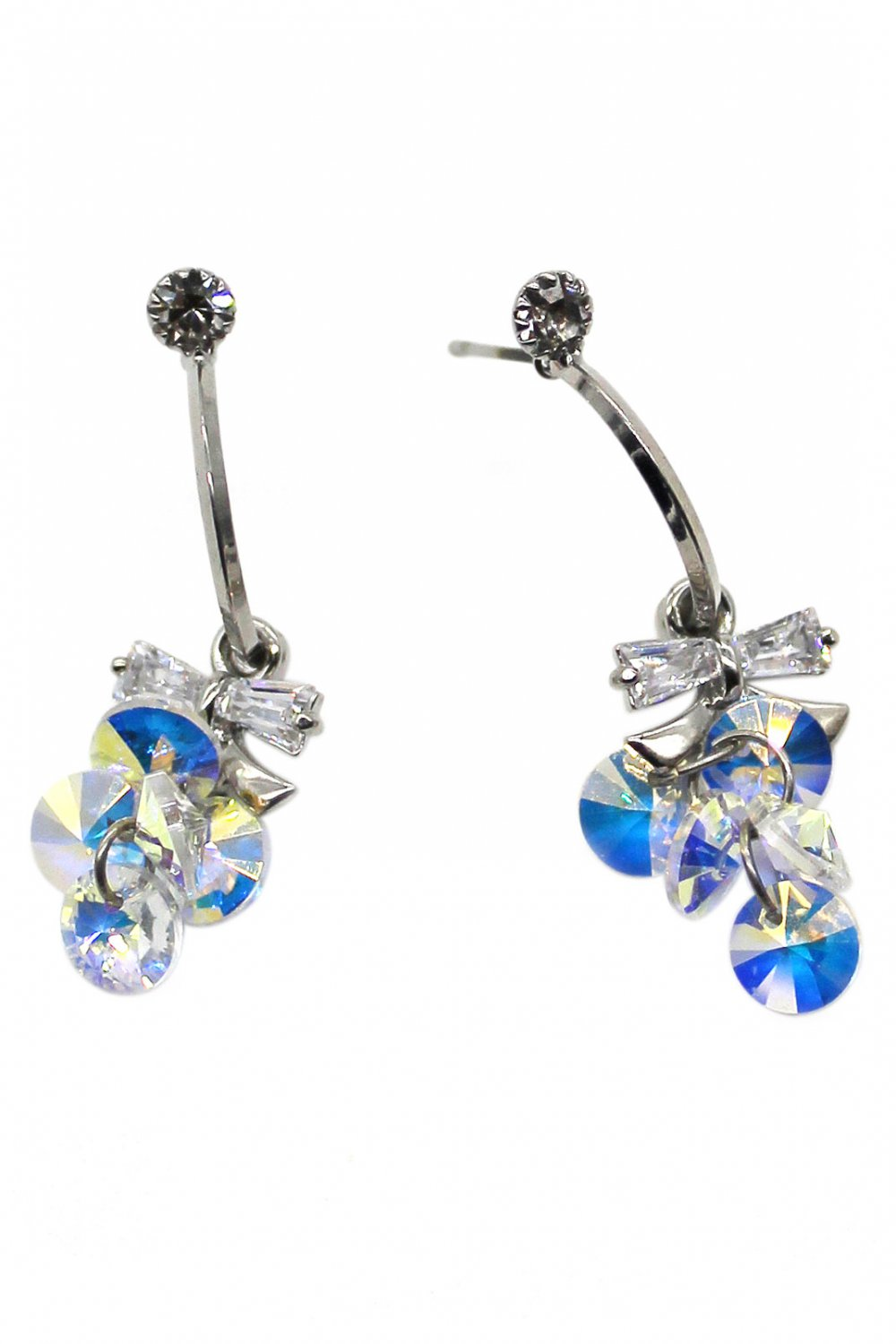 Sweety sparkling swarovski crystal silver earrings