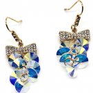 Lovely bow tie swarovski crystal hook gold earrings