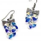 Lovely bow tie swarovski crystal hook silver earrings