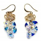 Lady swarovski crystal gold rose earrings