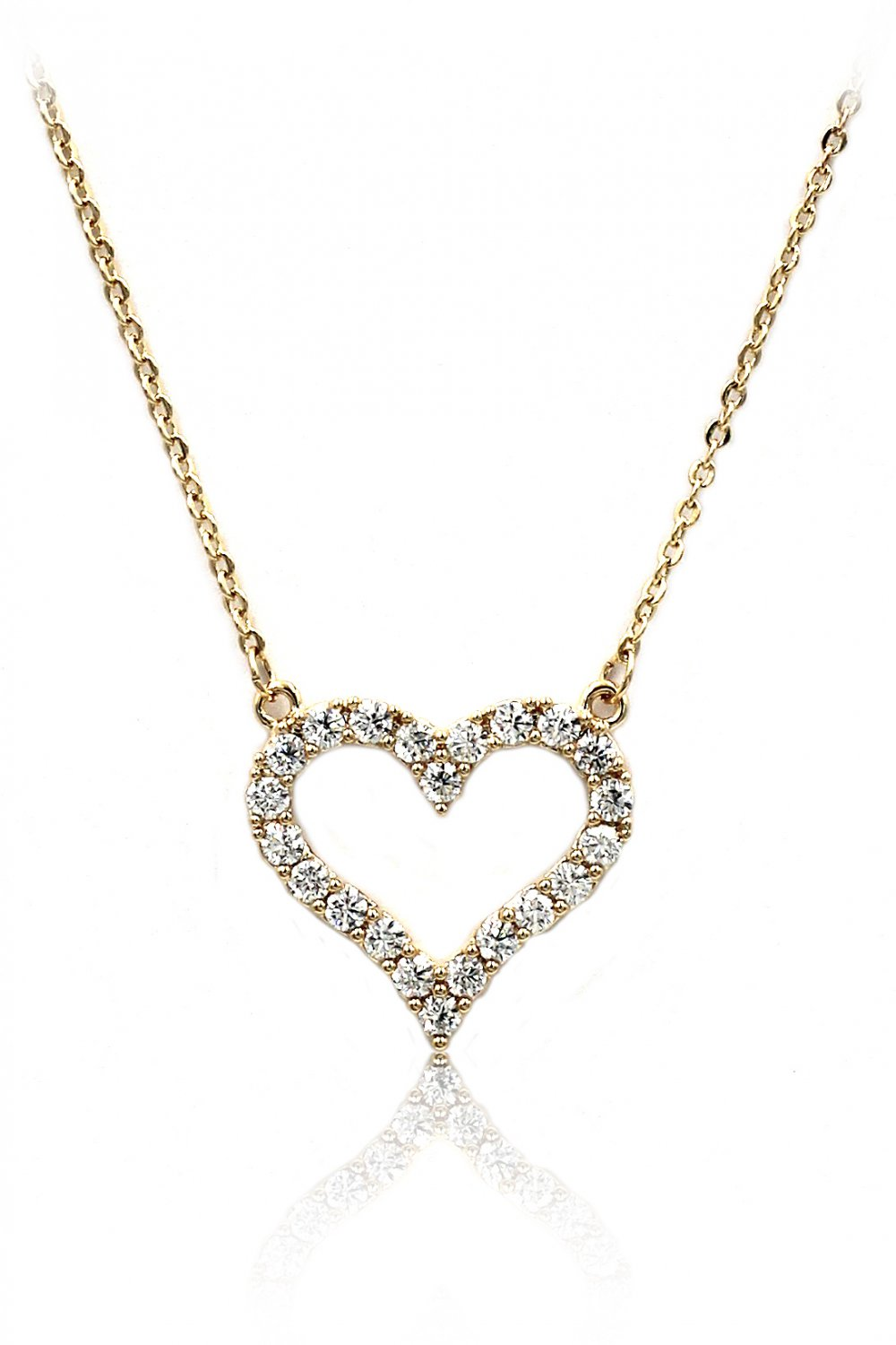 Lovely crystal heart gold necklace