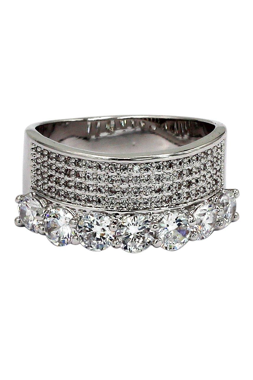 Fashion luxury crystal silver ring