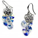 Lady swarovski crystal silver rose earrings