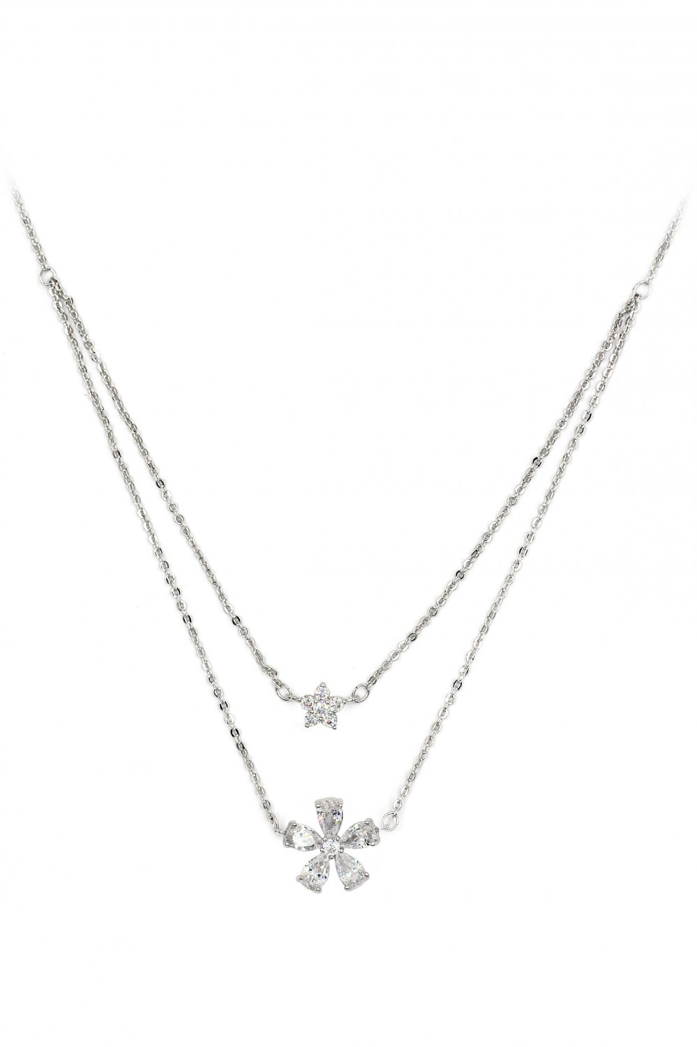 Duplexes mini flowers crystal silver necklace