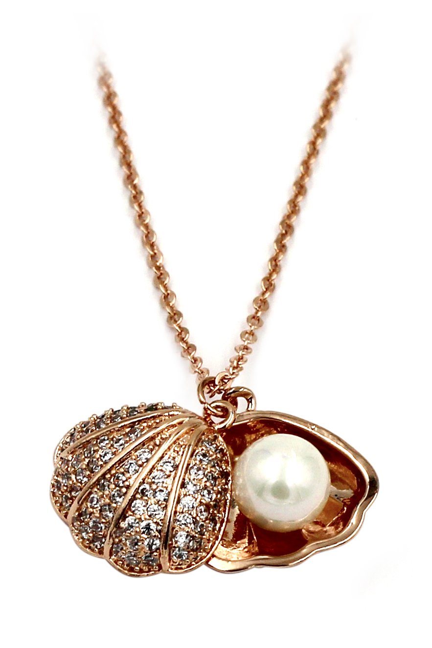 Pearl shell rose gold necklace