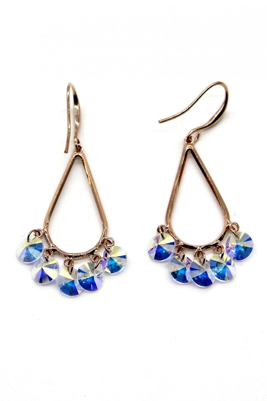 Sector drop swarovski crystal Rose Gold earrings
