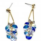 Elegant bunches swarovski crystal gold earrings