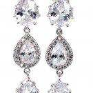 Shining pendant crystal silver earrings