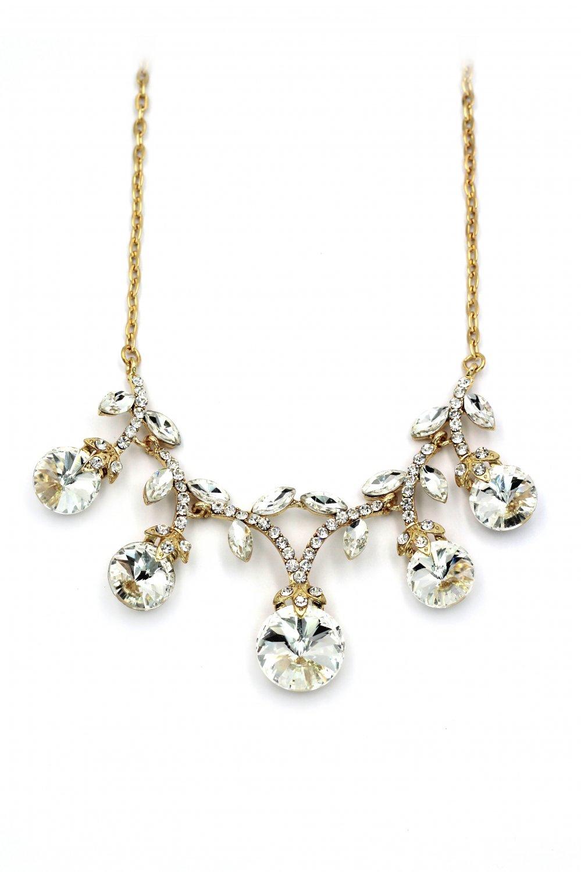 Elegant sparkling white crystal golden necklace