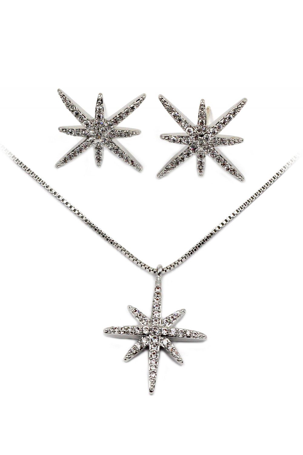 Fashion polaris small crystal Sterling silver chain necklace earrings silver set