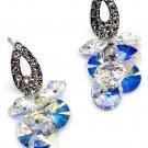 Sparkling drop swarovski crystal silver earrings
