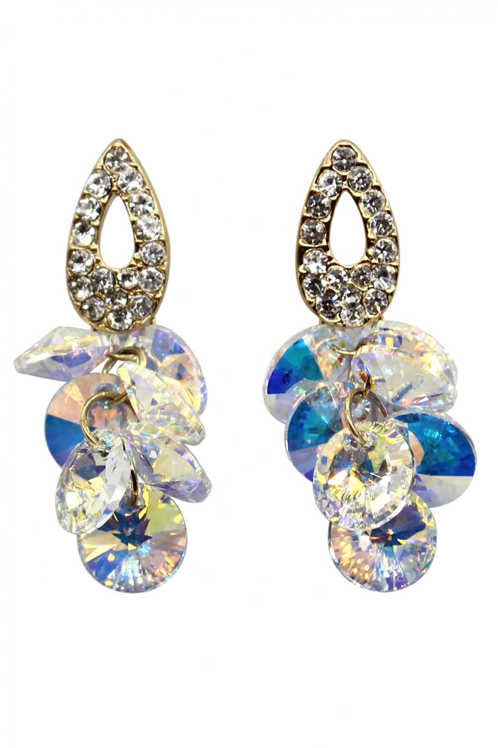Sparkling drop swarovski crystal gold earrings