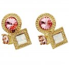 Fashion golden rim pink crystal earrings