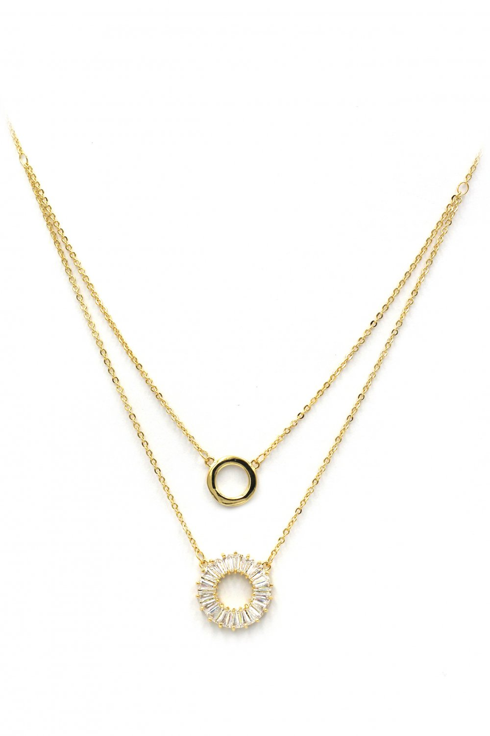 Duplexes crystal circle gold necklace