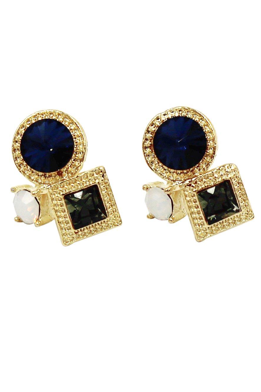 Fashion golden rim blue crystal earrings