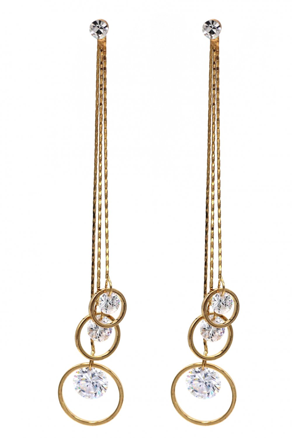 Temperament tassel pendant crystal gold earrings