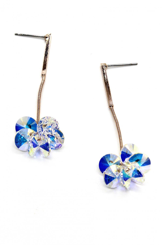 Sparkling hanging hammer swarovski crystal earrings