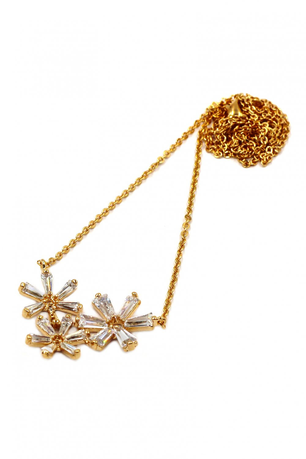 Simple flowers crystal gold necklace