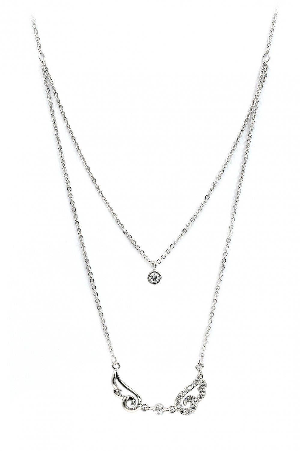 Duplexes asymmetric crystal wing silver necklace