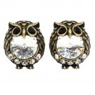 Mini cute Vintage Gold owl crystal earrings