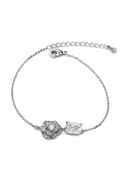 Delicate crystal rose silver bracelet