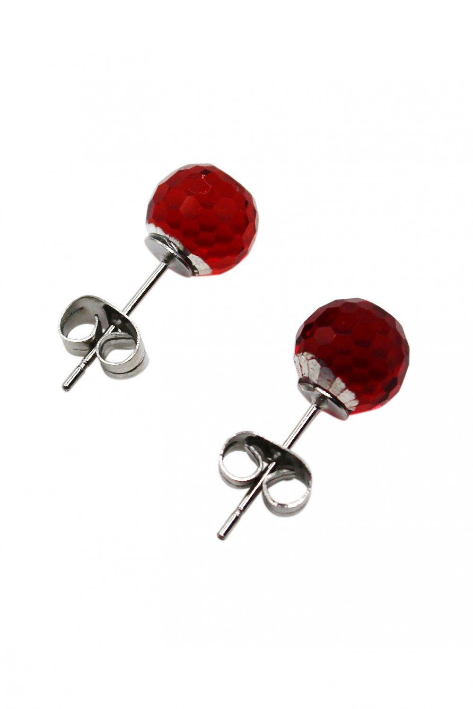 Single crystal red ball earrings