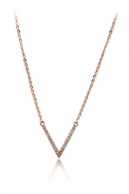Fashion sparkling crystal V clavicle rose gold necklace