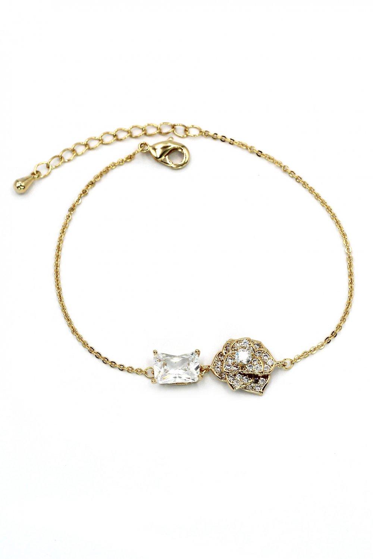 Delicate crystal rose golden bracelet