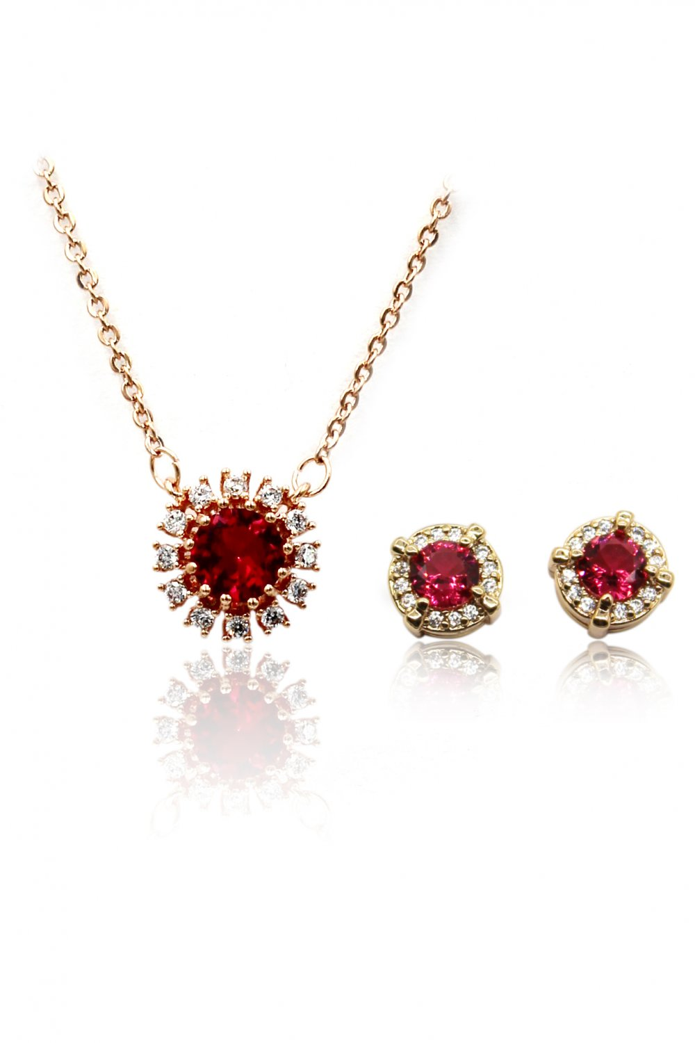 Simple red crystal necklace earrings gold set