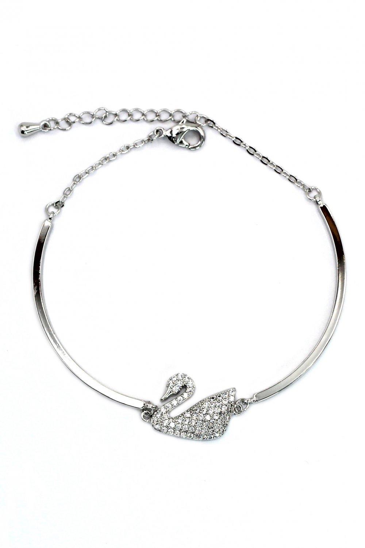 Elegant crystal swan silver bracelet