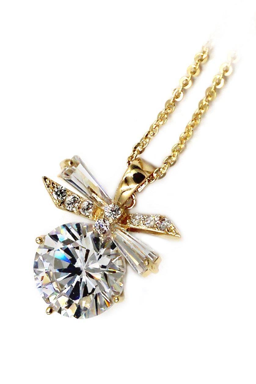 Elegant dragonfly crystal gold necklace