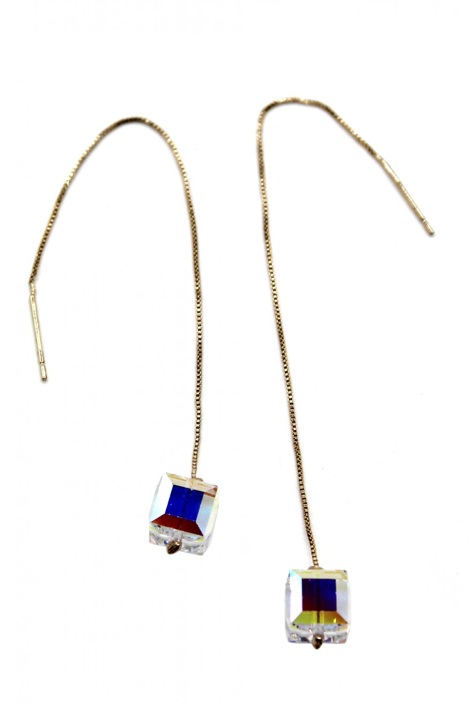Swarovski square crystal gold earrings