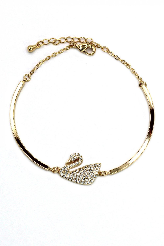 Elegant crystal swan gold bracelet
