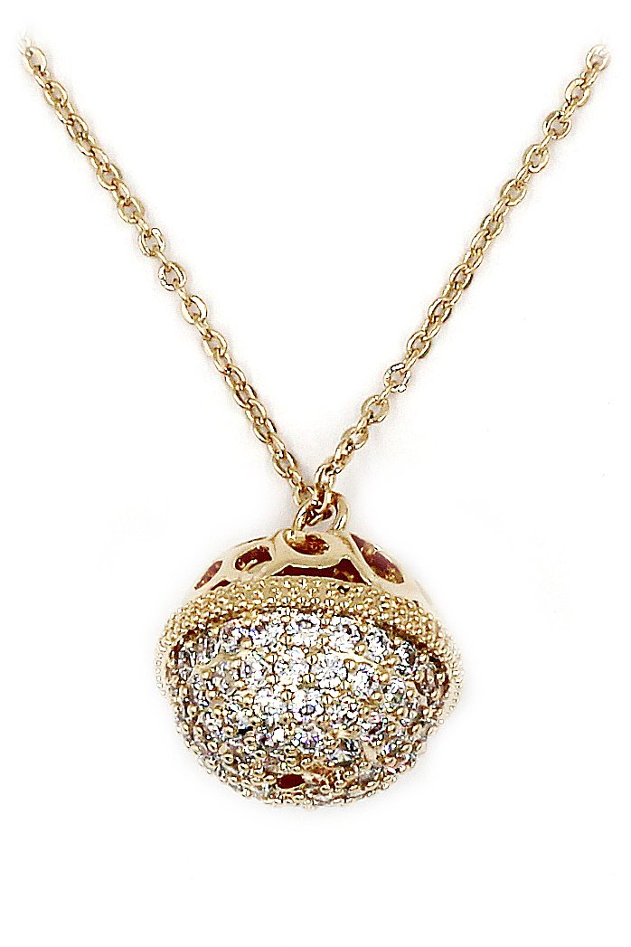 Delicate doraemon tinker bell crystal gold necklace