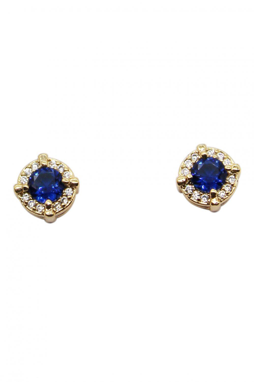 Simple golden blue crystal earrings
