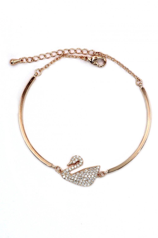 Elegant crystal swan rose gold bracelet