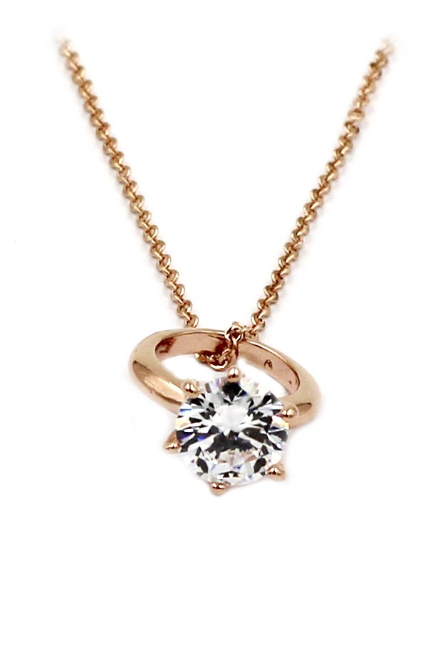 Simple mini crystal ring rose gold necklace