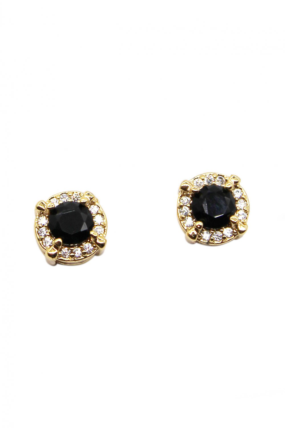 Simple golden black crystal earrings