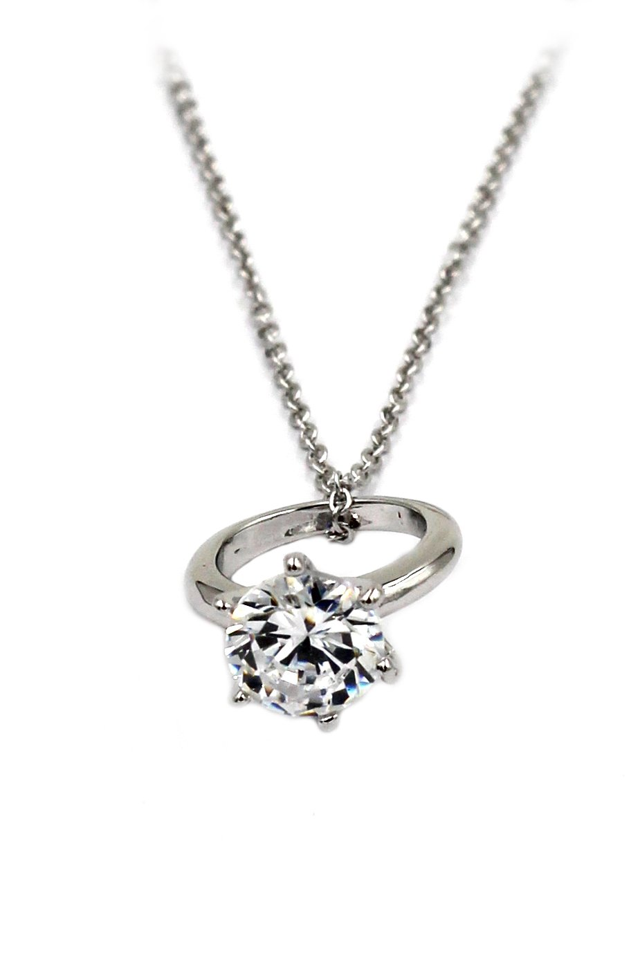 Simple mini crystal ring silver necklace