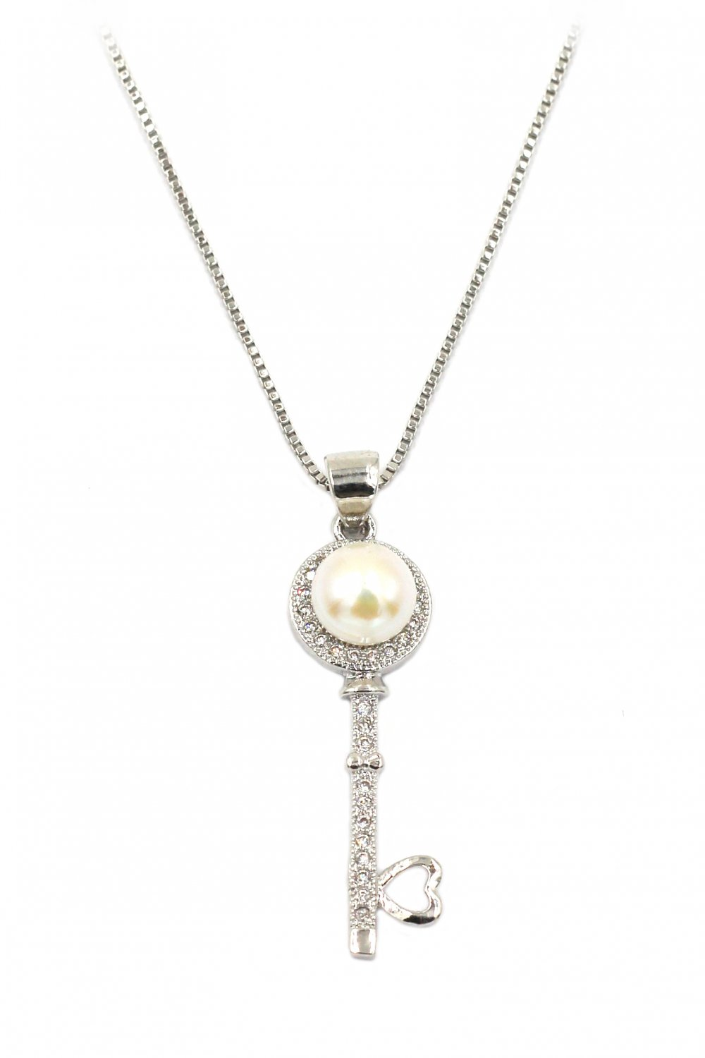 Fashion pearl and crystal key silver necklace