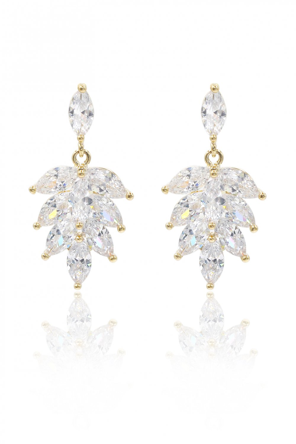 Elegant temperament crystal gold earrings