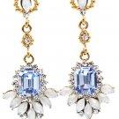 Elegant pendant blue crystal golden earrings