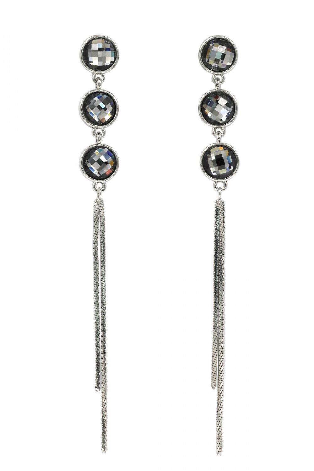 Exaggerated tassels round crystal silver earrings