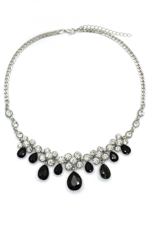 Noble black garnet crystal silver necklace