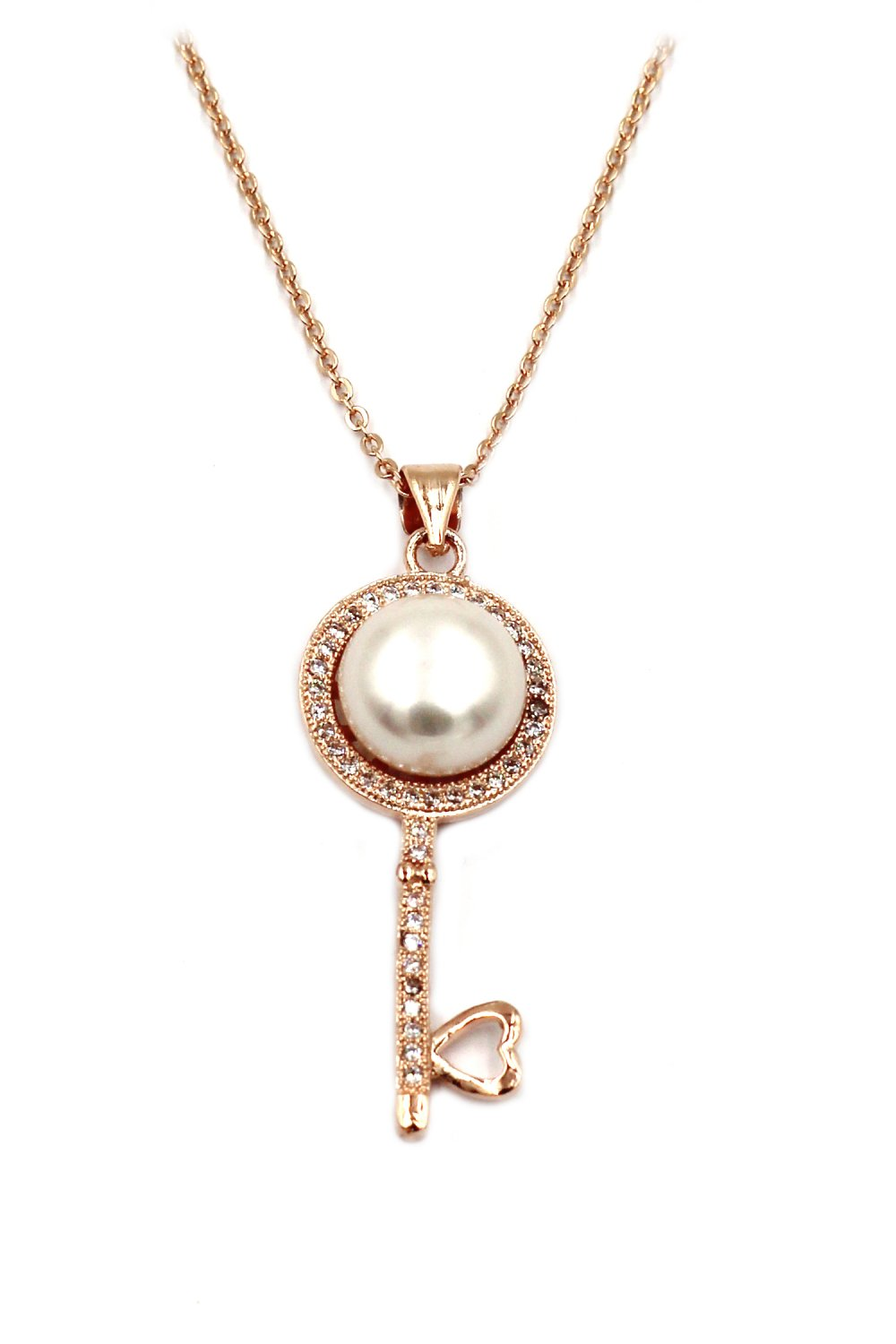 Fashion pearl and crystal key rose gold necklace