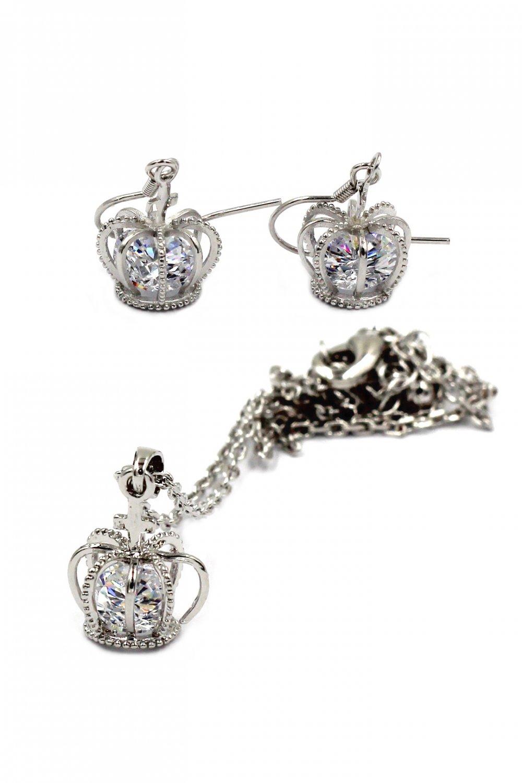 Mini Crown Crystal necklace earrings Set