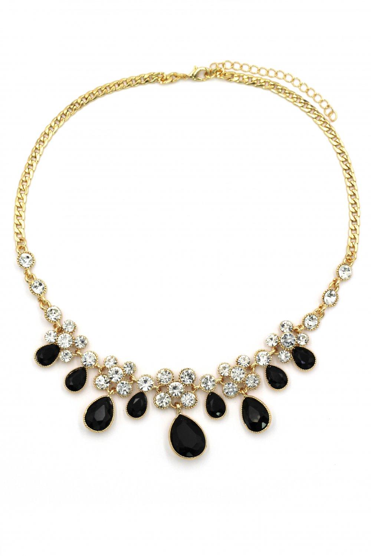 Noble black garnet crystal gold necklace