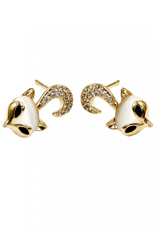 Mini cute little fox crystal gold earrings