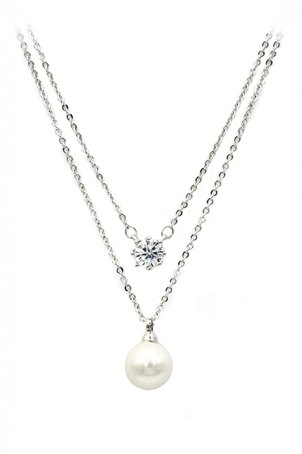 Exquisite double-chain crystal pearl silver necklace